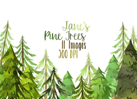 Forest download instant download cute conifers yule trees