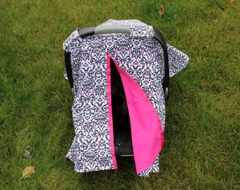Damask and Hot pink Carseat Canopy