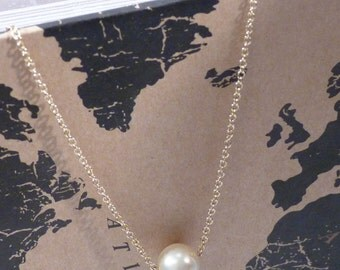 Single Gold Pearl Necklace - Dainty Gold Necklace - Single Pearl Necklace - Bridesmaid Gift - Everyday Necklace