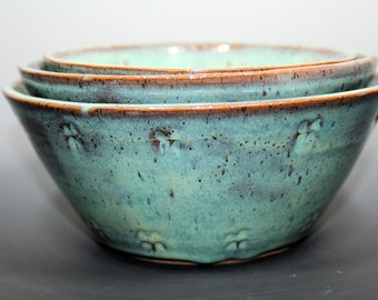 Handmade Pottery Nesting Bowl Set in Turquoise and Brown - 3 piece set - ceramic - ready to ship