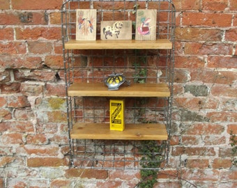 a nice vintage industrial hand made wood &  metal crate shelf / shelving  shed art