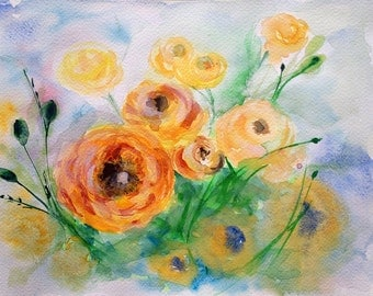 Orange Eustoma Flowers Bouquet Watercolour Painting Decorative Element for Living Room Bedroom or Kitchen Watercolour Art