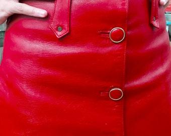 Vintage Red Leather Mini Skirt