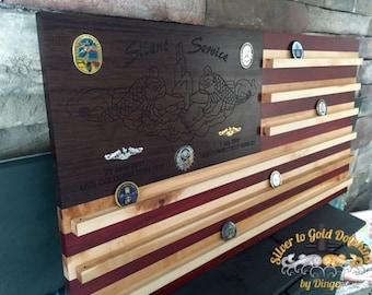Customizable Wall Mounted Hardwood American Flag Coin Holder
