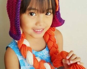 Anna braid wig hat,anna frozen crochet hat,ana anna hat,disney princess hat,princess ana hat,frozen ana hat,crochet anna hat,anna frozen hat