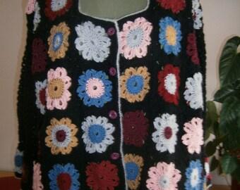 crotcheted flower jacket