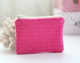 Hot Pink Coin Zipper Purse, FREE SHIPPING with another purchase, Padded Purse, Coin Pouch, Change Purse, Zipper Pouch, Little Purse