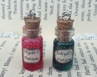 Jekyll's , Hyde's Potion and Blood Bottle Necklace / Pendant / Bookmark / Earrings / Decoration / Keyring inspired by Jekyll and Hyde