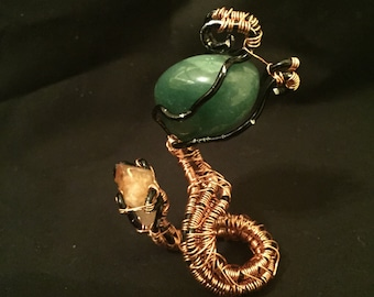 Green Agate Serpent Paper weight