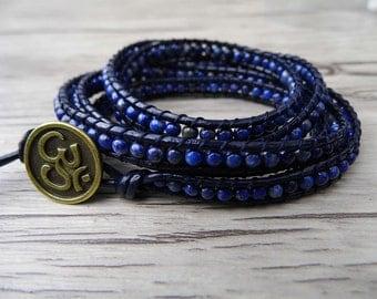 5 wraps bracelet Lapis lazuli Beads Bracelet Navy Gemstones Beaded bracelet Leather bracelet Chic Yoga Boho bracelet SL-0101