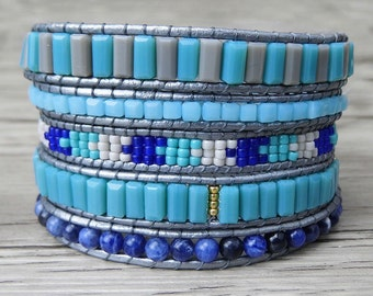 5 wrap bracelet silver Leather wrap bracelet beaded bracelet aqua beads bracelet beaded leather bracelet crystal bracelet SL-0228