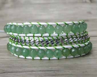leather wrap bracelet Aventurine bracelet gemstone wrap bracelet chain bead bracelet boho beaded bracelet gypsy leather bracelet SL-0247