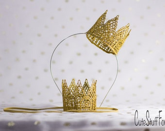Gold lace crown headband or elastic perfect for Disneyland, princess dress up, birthday, cake topper, or photography prop