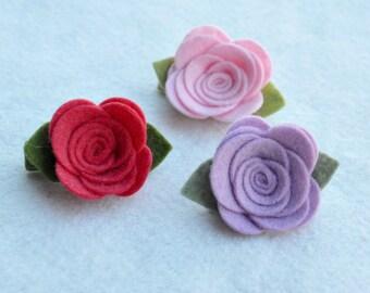 R O S E T T E - C L I P - Multiple Colors - Wool Felt Flower