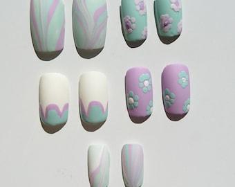 Pastel flower design false nails