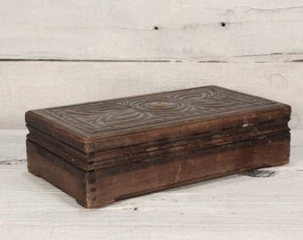 Vintage wooden jewelry box Engraved copper plate/Vintage Wooden Box with embossing cooper trim on cover, Vintage Jewelry box/Jewelry box