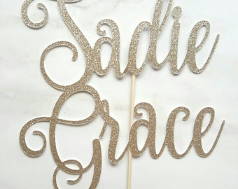 personalised custom name cake topper- gold glitter- cake smash- candle alternative- first birthday- birthday cake