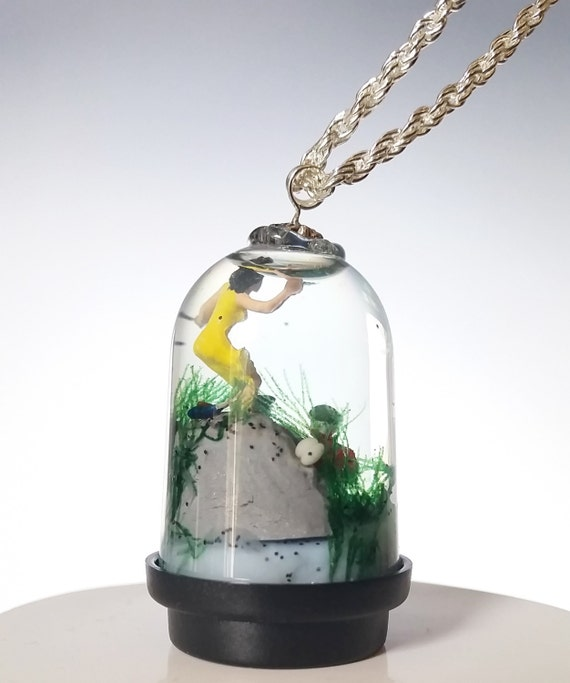 Miniature Snow Globe Necklace - Swamp Zombies attacking Woman on Clifftop