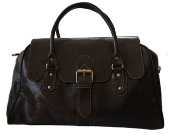 Vintage Style Genuine leather overnight bag/Large Hand bag in Brown