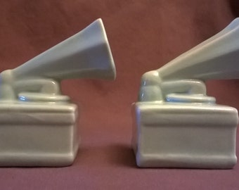 Vintage Victrola, Record Player Salt and Pepper Shakers, 1950's