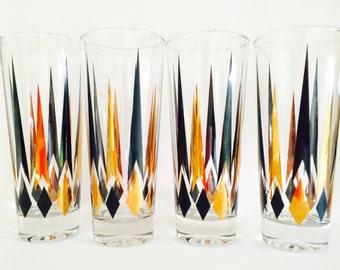 Mod Atomic Gold-and-Black Tumbler Glasses, Set of Four (Four Sets/16 Glasses Left!)