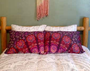 Set of 2 mandala tapestry pillowcases, various colors available