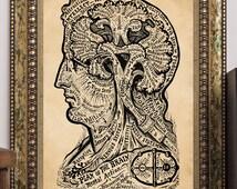 "Vintage Psychology Art Print ""Plan of the Brain-Mental Action"" Sivartha 1912 Human Mind Antique Book Illustration Steampunk Art"