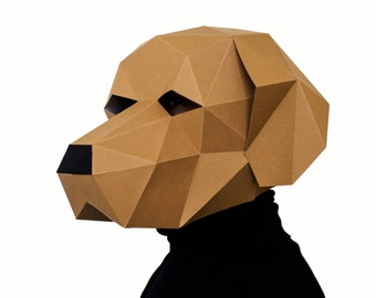 Dog Labrador Mask, DIY printable Animal Head, Instant Pdf download, DIY New Year Mask, Printable Templates, 3D Polygon Masks, Printable Mask