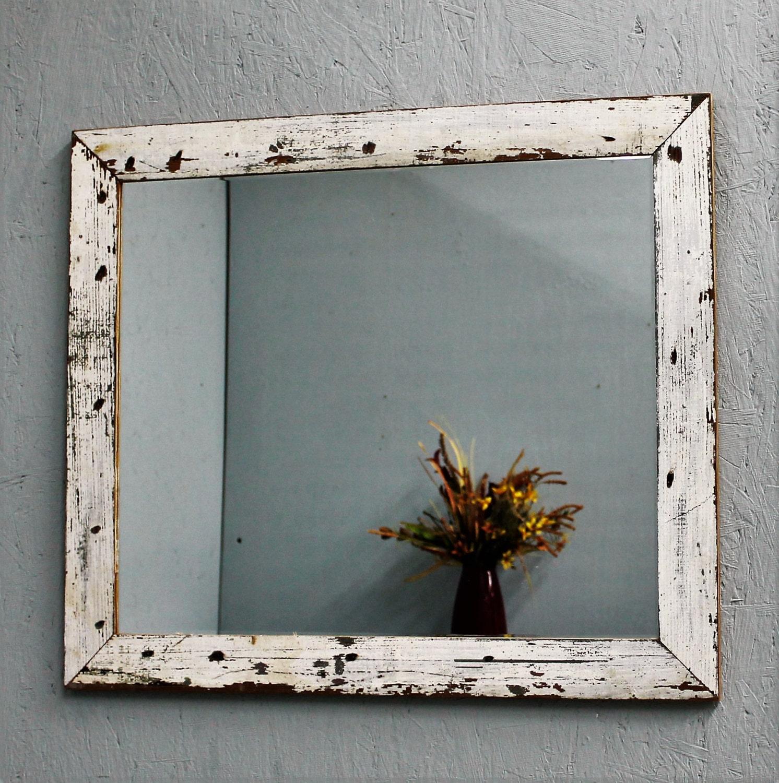 Mirror Wood Mirror Rustic Handmade Custom Vinatge White