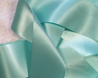 Green Satin Ribbon/Aquamarine Satin Ribbon/Aqua Wedding Dress Sash/Flower Girl Sash/Boho Wedding Sash/DIY Bridal Belt/Green Ribbon Sash
