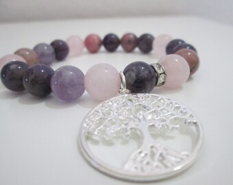 Amethist, Rhodonite, Rose quartz and Blue sandstone Aventurine bracelet, Woman bracelet, Tree of life bracelet, Womens jewelry, Womens gift