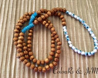 Handmade necklace, wooden beads, shell beads, 'evil eye' beads