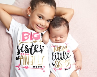 Big Sister Little Sister - Matching Sister Shirt - Big Sister Little Sister Shirt - Big Sister Gift -  Pregnancy Announcement - New Baby