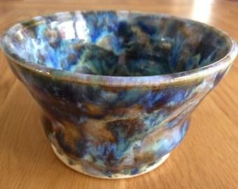 Blue Ceramic Serving Bowl / Blue Pottery Bowl / Handmade Serving Bowl/ Handmade/ Colourful Bowl/ Ornamental Bowl/ Tableware/ Nibbles Bowl/