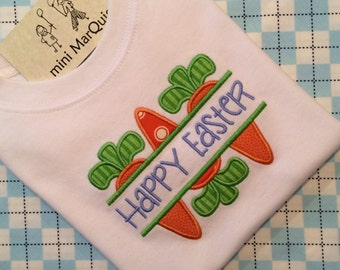 Easter Split-Carrot Trio Appliqued Shirt