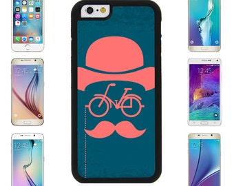 Man Hat Bicycle Beard Mustache Case Cover for Apple iPhone 6/6S, 6 Plus, 6S Plus, Samsung Galaxy S6 S6 edge, S6 edge plus, Note 4, Note 5