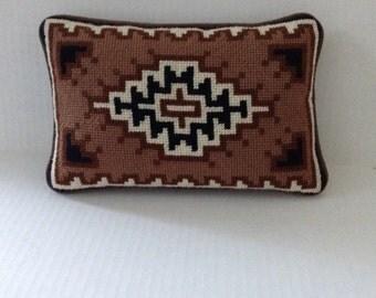 Handmade Needlepoint Pillow Geometric Design-Browns/Black/Cream