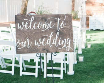 Welcome to Our Wedding Wooden Sign, Wedding Sign, Wood sign, Wedding Wooden Sign, Wooden Sign, Wedding,  Hand painted Wooden sign