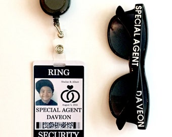 Ring Security ID Badge Set with Sunglasses and Add-on Items - Wedding Ring Bearer Alternative / Gift