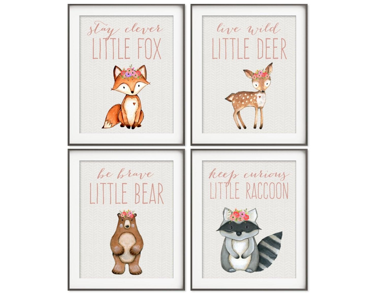 Woodland Nursery Girl Boho Nursery Art Fox Print Bear