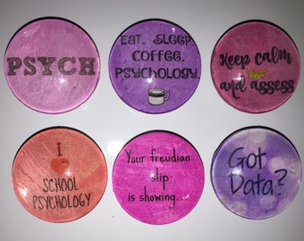 School Psychologist glass magnets. 1inch (25mm) Set of 6