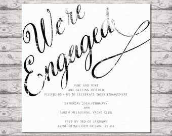 Distressed Calligraphy Engagement Invitation - Print at Home File or Printed Cards - Personalised Engagement Invitation Design