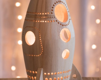 Wooden Rocket Ship Night Light - Nursery / Baby / Kid Lamp - Spaceship Nightlight Lantern for Outer Space Theme
