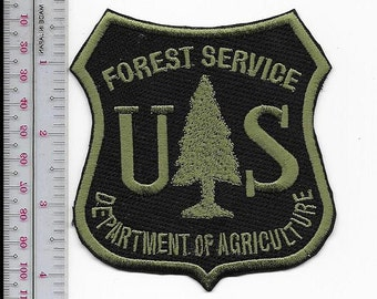 Hot Shot Wildland Fire Crew USFS United States Forest Service Green on Black 4 inches