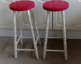 NOW SOLD*****A Lovely Pair of Cream and Red Bar Stools.