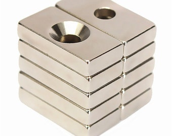 "10pcs N50 13/16"" x 3/8"" x 3/16"" (20x10x4mm) Center Hole Super Strong Block Cuboid Magnets Rare Earth Neodymium Magnets with Hole  US SELLER"