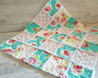 Shabby chic rag quilt, photo prop, playmat, stroller quilt.