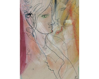 Nice mural DIN A4 original painting drawing / free modern art