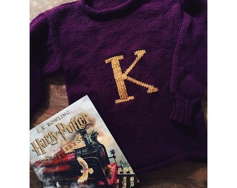 Hand Knit Weasley Sweater Customize Colors and Letter