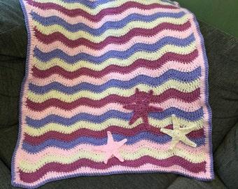Ripple star applique blanket